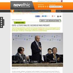 COP21 : le texte final de l'accord de Paris présenté
