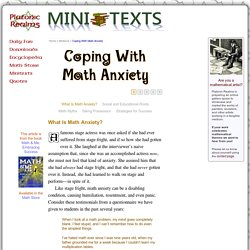 Coping With Math Anxiety -- Platonic Realms MiniText