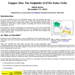 Copper Zinc Tin Sulphide (CZTS) Solar Cells