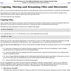 Copying, Moving and Renaming Files and Directories
