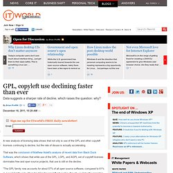 GPL, copyleft use declining faster than ever