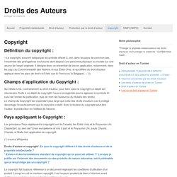 Copyright - Droits des Auteurs