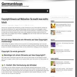 Copyright-Hinweis auf Webseiten: So macht man nichts falsch - Germanblogs