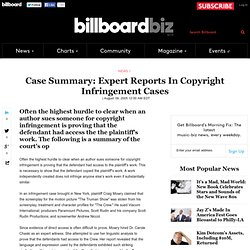 Case Summary: Expert Reports In Copyright Infringement Cases