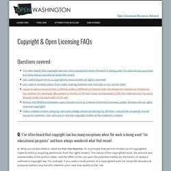 Copyright & Open Licensing FAQs