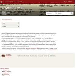 Copyright Renewals - Online Exhibits