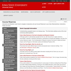 Copyright - Course Reserves - Library Guides at Iowa State University