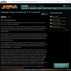 Copyright status of works by H. P. Lovecraft - The H.P. Lovecraft Wiki - Wikia