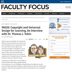 Podcast: Copyright & UDL, An Interview with Thomas J. Tobin