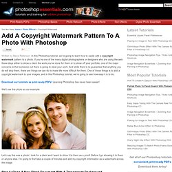 Add A Copyright Watermark Pattern To A Photo