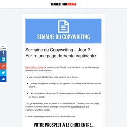 Semaine du Copywriting 2/4 : 3 étapes pour écrire une page de vente captivante - Marketing Mania