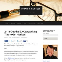 24 In-Depth SEO Copywriting Tips To Get Noticed  - Brian D. Russell