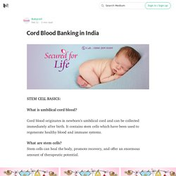 Cord Blood Banking in India