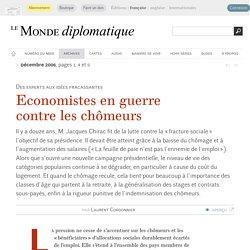 Economistes en guerre contre les chômeurs, par Laurent Cordonnier
