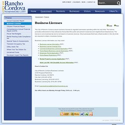 City of Rancho Cordova : Business Licenses