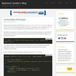 Cordova Media API Example