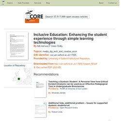 Inclusive Education: Enhancing the student experience through simple learning technologies