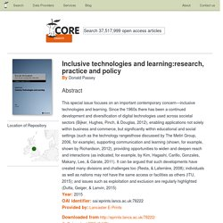 Inclusive technologies and learning:research, practice and policy