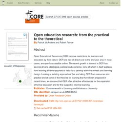Open education research: from the practical to the theoretical