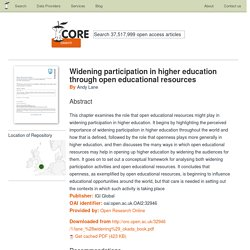 Widening participation in higher education through open educational resources