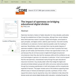 The impact of openness on bridging educational digital divides