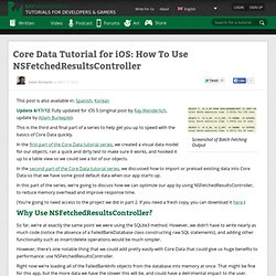 Core Data Tutorial for iOS: How To Use NSFetchedResultsController