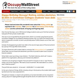Happy Birthday Occupy! Rolling Jubilee abolishes $3.85m in Corinthian Colleges students' loan debt