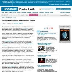 Coriolis-like effect found 184 years before Coriolis - physics-math - 14 January 2011