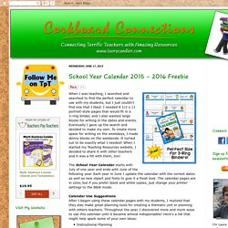 School Year Calendar 2015 - 2016 Freebie