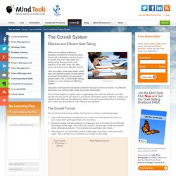 The Cornell Note Taking System - Learning Skills from MindTools.com