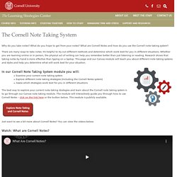The Cornell Note-taking System – Learning Strategies Center