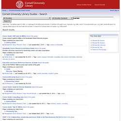 Search - Cornell University Library Guides at Cornell University