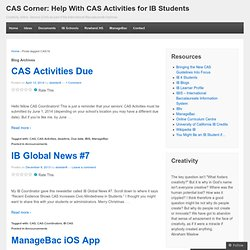 CAS Corner: Help with CAS activities for IB students