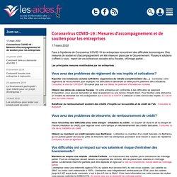 Coronavirus COVID-19 : Mesures d'accompagnement et de soutien pour les entreprises