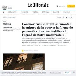 Coronavirus: «Il faut surmonter la culture de la peur et la forme de paranoïa collective instillées à l'égard de notre modernité»