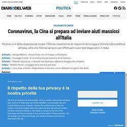 Coronavirus, la Cina si prepara ad inviare aiuti massicci all'Italia