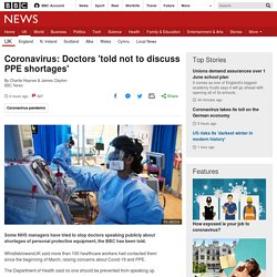Coronavirus: Doctors 'told not to discuss PPE shortages'