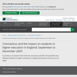 Coronavirus and the impact on students in higher education in England: September to December 2020