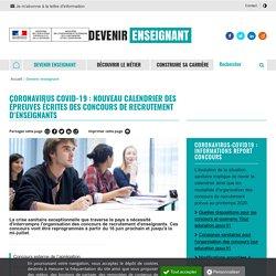 Coronavirus Covid19 nouveau calendrier des épreuves écrites concours enseignants - Devenir enseignant