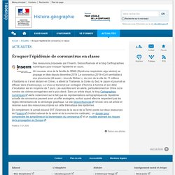 Évoquer l'épidémie de coronavirus en classe-Histoire-géographie-Éduscol