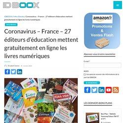 Coronavirus - France – 27 éditeurs d'éducation mettent gratuitement en ligne les livres numériques