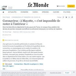Coronavirus : à Mayotte, «c'est impossible de rester à l'intérieur»