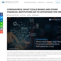 Coronavirus: What could Banks and Other Financial Institutions Do to Withstand the Crisis