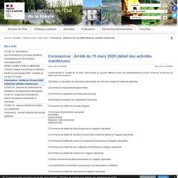 Coronavirus : Arrêté du 15 mars 2020 (détail des activités maintenues) - Les services de l'État dans la Nièvre