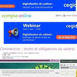 Coronavirus : droits et obligations du salarié