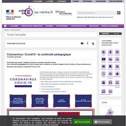 Coronavirus / Covid19 - la continuité pédagogique