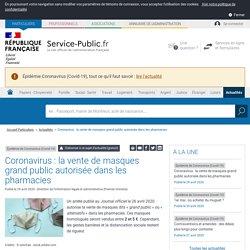Vente de masques grand publicautorisée dans les pharmacies