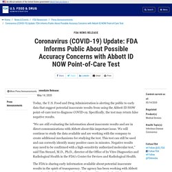 Coronavirus (COVID-19) Update: FDA Informs Public About Possible Accuracy Concerns with Abbott ID NOW Point-of-Care Test