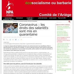 Coronavirus : les droits des salariéEs sont mis en quarantaine