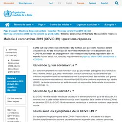 Maladie à coronavirus 2019 (COVID-19) : questions-réponses